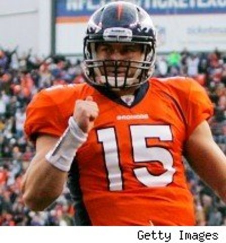 Tebow Throws First TD Pass