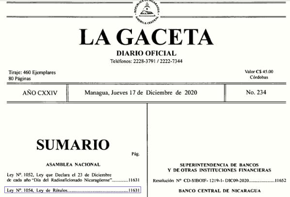 DE LA GACETA -  DIARIO OFICIAL