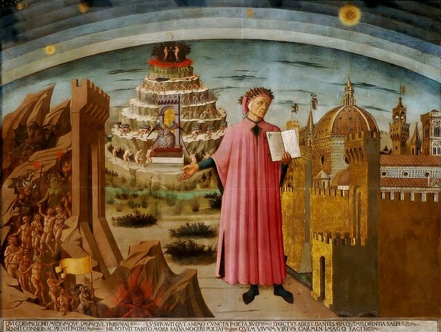 Dante termina la Divina Comedia