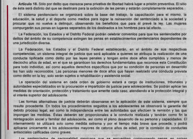5ta Reforma articulo 18