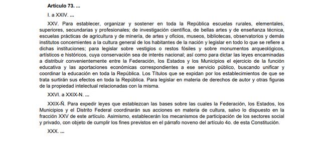 58a Reforma articulo 73
