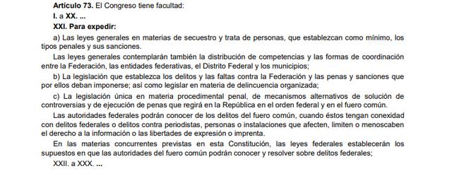 68a Reforma articulo 73