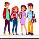 Depositphotos 197862898 stock illustration vector cartoon cheerful college students