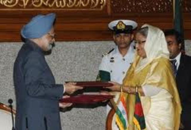 India and Bangladesh sign pact to end 40 year border democration dispute