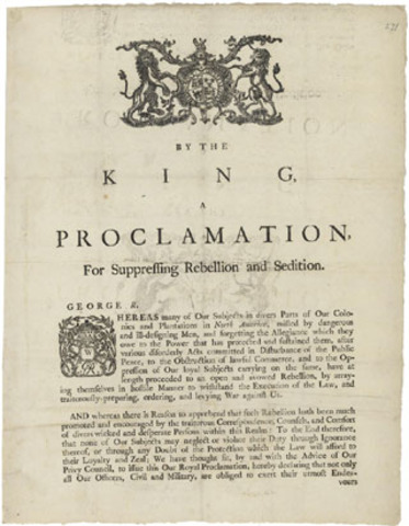 Proclamation for Suppressing Rebellion and Sedition