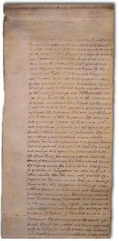English Bill of Rights Passed by Parliament