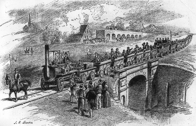 День начала строительства железных дорог, открытие первой общественной железной дороги