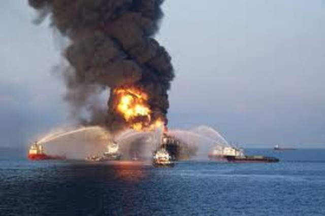 Explosion occurs at the Deep Water Horizon oil rig