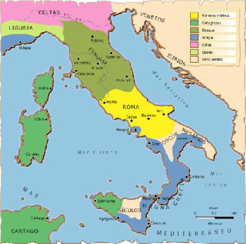 controlava tota la península itàlica.