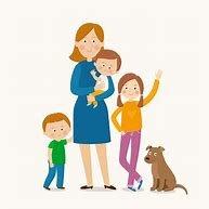 La madre cuida a los hijos