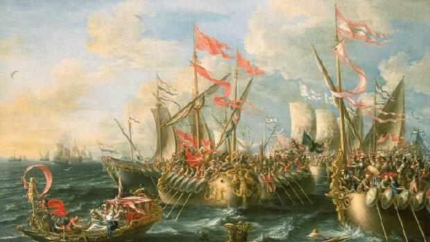 Octavi derrota a Cleopatra i Marc Antoni en Actium