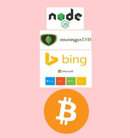 NODE JS, MongoDB, BUSCADOR BING DE MICROSOFT, BITCOIN