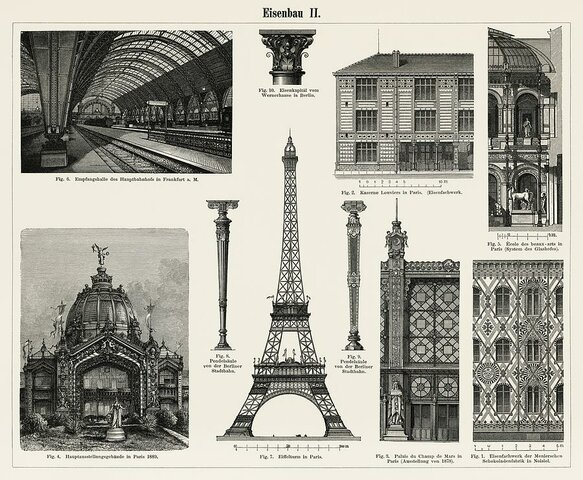 The Eiffel Tower, a sample of the iron architecture of the s. XIX