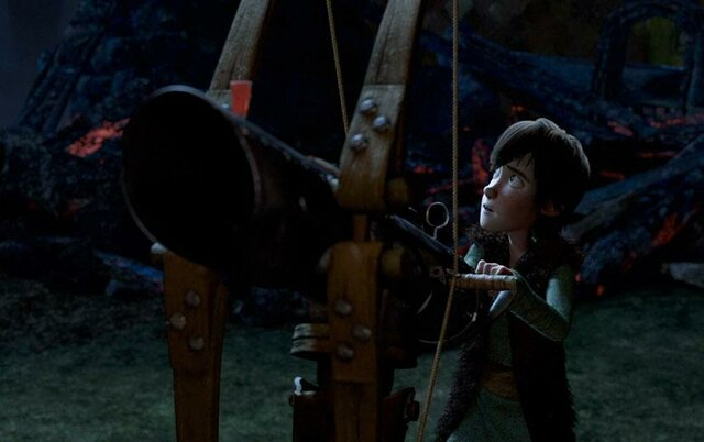 2. Hiccup shoots night fury with net