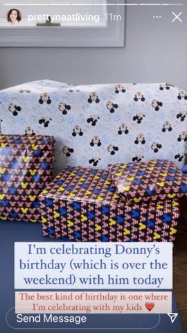 Celebrates Donny's birthday on her birthday