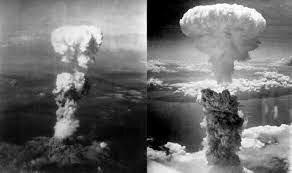 Hiroshima and Nagasaki atomic bombs explode.