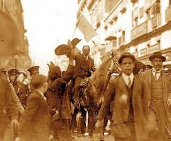 Madero entra triunfante a la capital
