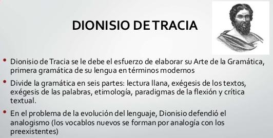 LA GRAMÁTICA DE DIONISIO DE TRACIO
