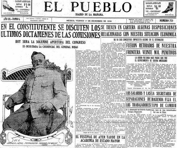 Revisión del Plan de Guadalupe: Adelanta la necesidad de reformas a la Constitución de 1857. Anuncia la convocatoria a elecciones para un congreso Constituyente 1916
