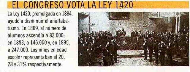 LEY 1420. PRESIDENCIA DE JULIO ARGENTINO ROCA.