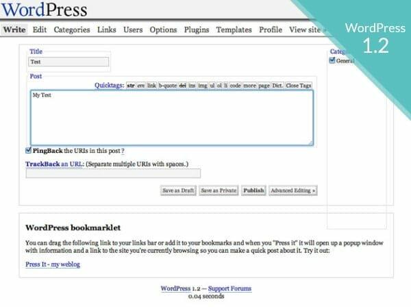 Versión 1.2 de WordPress, y la introducción de Pligins