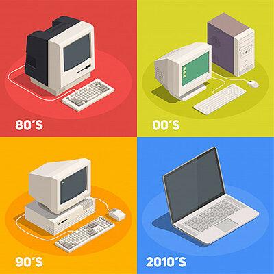 Dispositivos mecánicos y electromecánicos de cálculo de las generaciones de computadoras timeline
