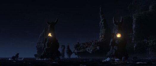 7. Hiccup tries to sneak Toothless through the village at midnight.