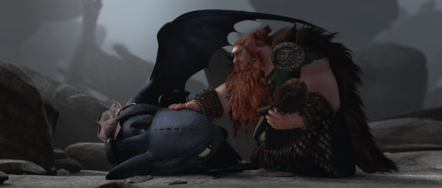 13. Hiccup is hurt, but Toothless saves him.