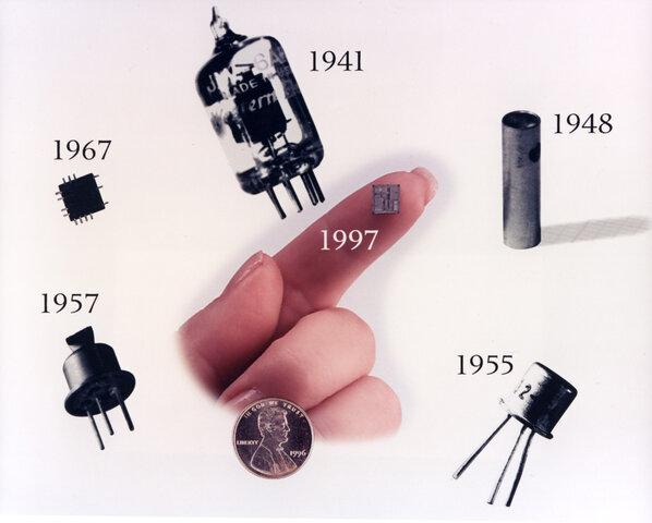 Изобретение транзистора: Джон Бардин, Уильям Шокли и Уолтер Браттейн