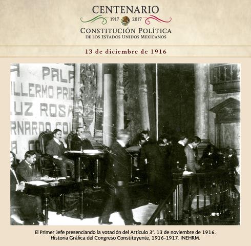 Venustiano Carranza asiste por única vez a la sesión del Congreso Constituyente
