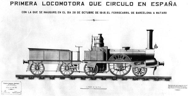 1848 – Primera locomotora de vapor a la Península Ibèrica.
