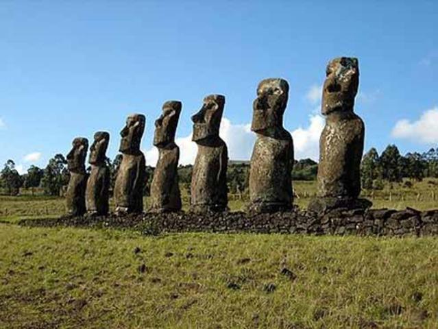Native people of Easter Island arive
