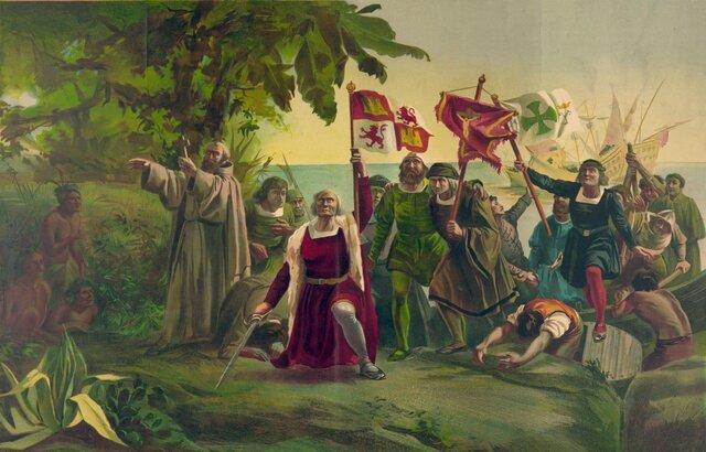 Colón arriba a Amèrica