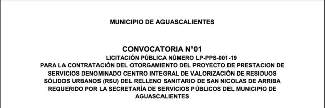 Lanzamiento de la convocatoria de licitación pública del proyecto