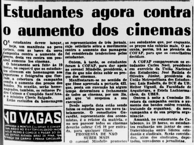 Estudantes agora contra o aumento dos cinemas