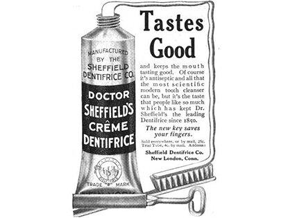 Dr. Washintong Sheffield crea la primera pasta dental y la distribuye. Después Colgate & Company crea su pasta dental con la fórmula similar a la del Dr. Sheffield.