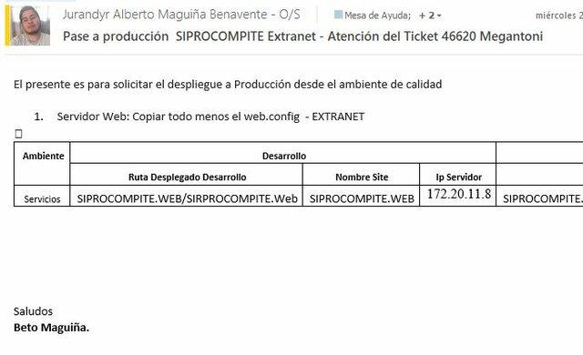 Ticket 46671: Pase a producción  SIPROCOMPITE Extranet - Atención del Ticket 46620 Megantoni