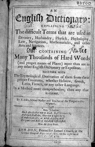 An English Dictionary by Elisha Coles