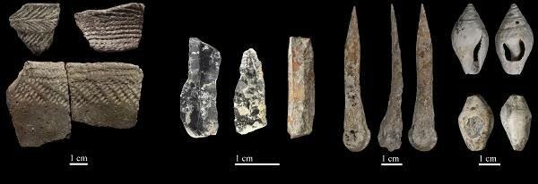 lanzas, arcos, flechas de hueso y piedra