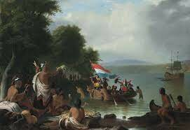Henry Hudson, exploring for the Netherlands, claims land that will become                        New Netherland.