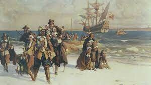 Pilgrims from England found an English Colony in Plymouth,                        Massachusetts.
