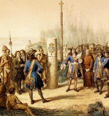 Sieur de la Salle explores the lower Mississippi Valley river, and claims the Valley for France and names it Louisiana in honor of the French King Louis XIV.