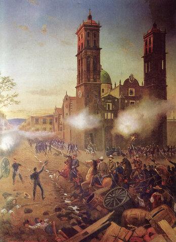 Porfirio Díaz vence a las fuerzas imperiales en Puebla