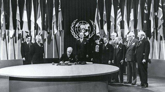 Creación de la Organización de las Naciones Unidas en la Conferencia de San Francisco.