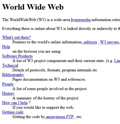 Aparición de la primera web