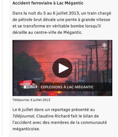 Explosion À Lac Megantic