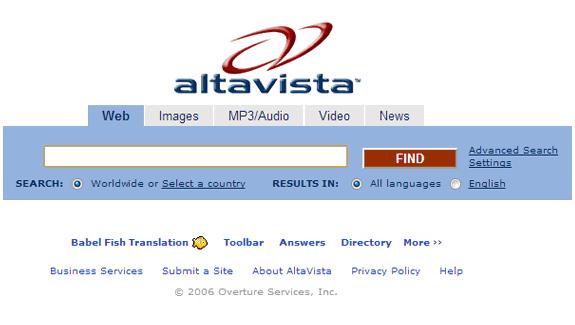 AltaVista y Yahoo!