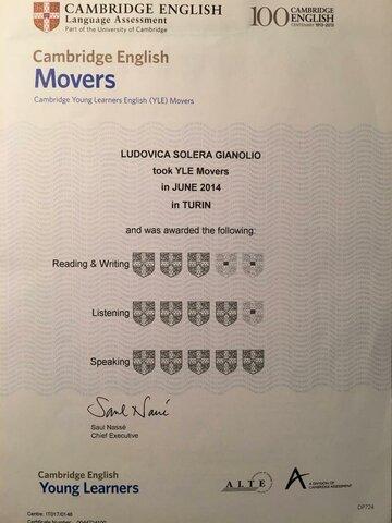 Prima certificazione lingua inglese MOVERS