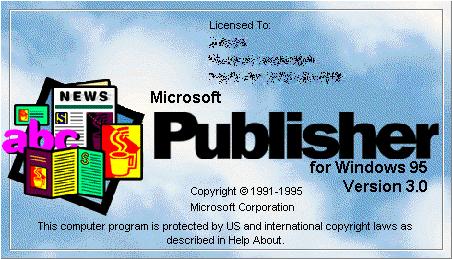 Microsoft Publisher 3.0, también conocido como «El editor para Windows 95».