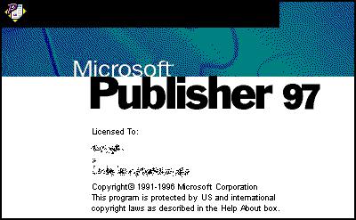 Microsoft Publisher 97 (Windows 95).